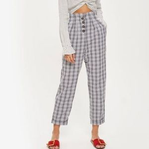 Topshop plaid checkered button pants